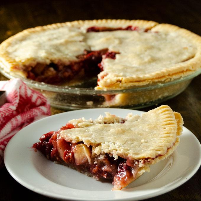 Gluten-Free Vegan Cherry Apple Pie with a crispy golden crust
