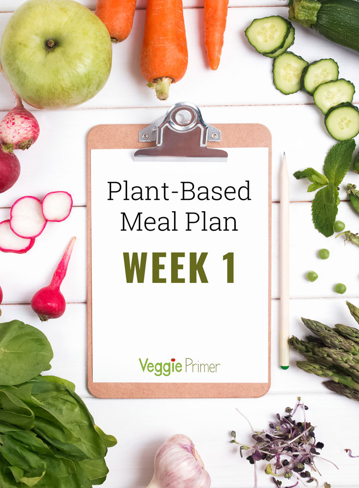 Plant-Based Meal Plan Week 1 on clip board surrounded by vegetables