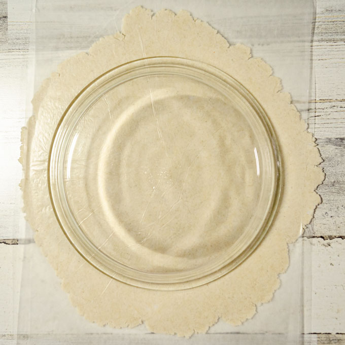 roll out gluten-free pie crust pastry until it is approximately 2-inches larger than a 9.5-inch pie plate