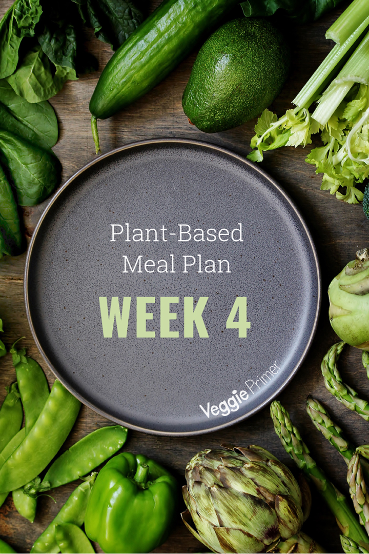 Vegetables surrounding dish with Week 4 Meal Plan text