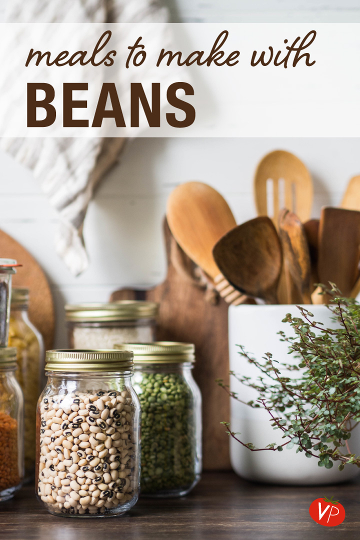Dried beans in glass jars - discover the different kinds of meals you can make with beans - including soups, stews, chilis, salads, sandwiches, burgers, pasta and more!